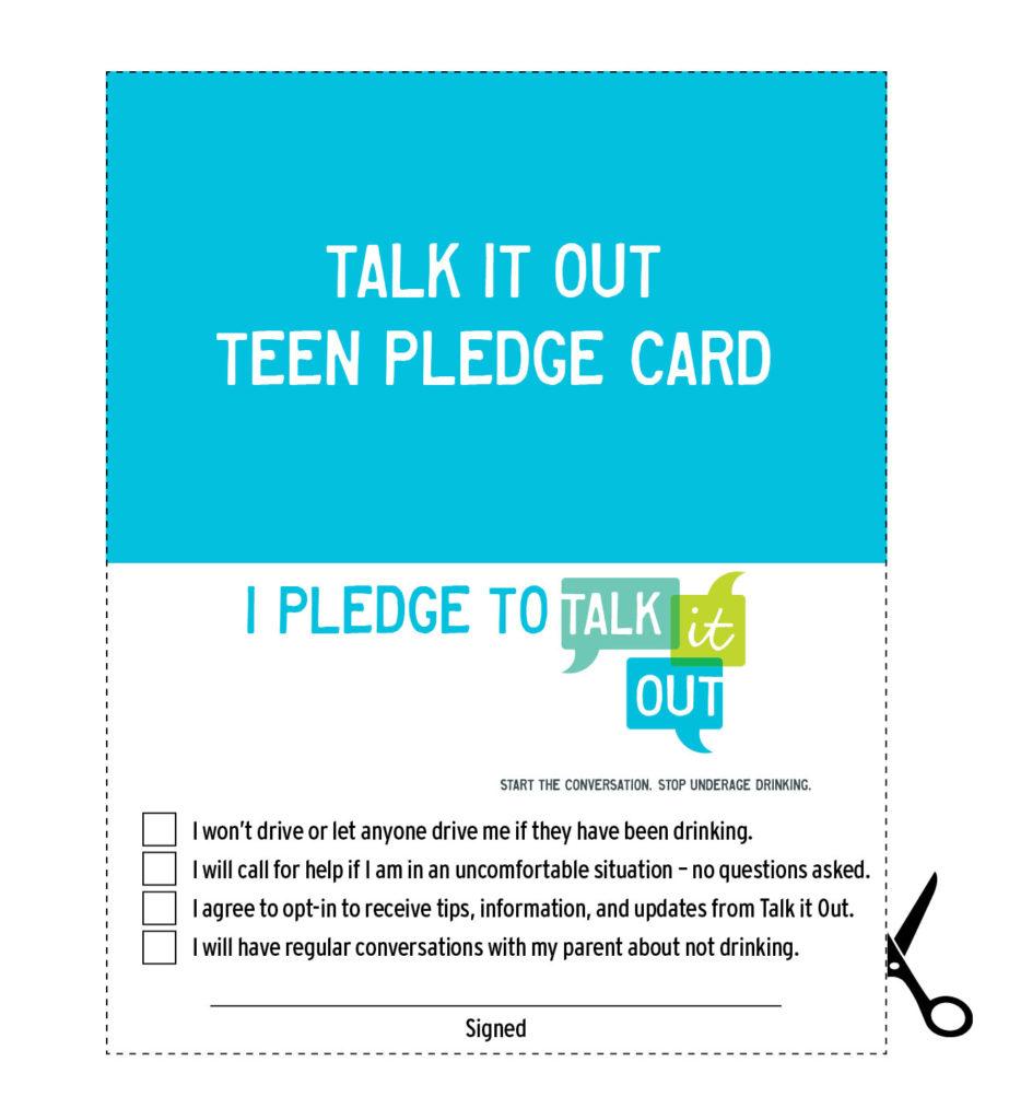 Underage Drinking - Teen Pledge Card