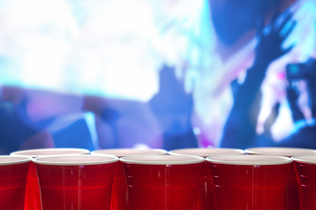 Red plastic cups at a party.