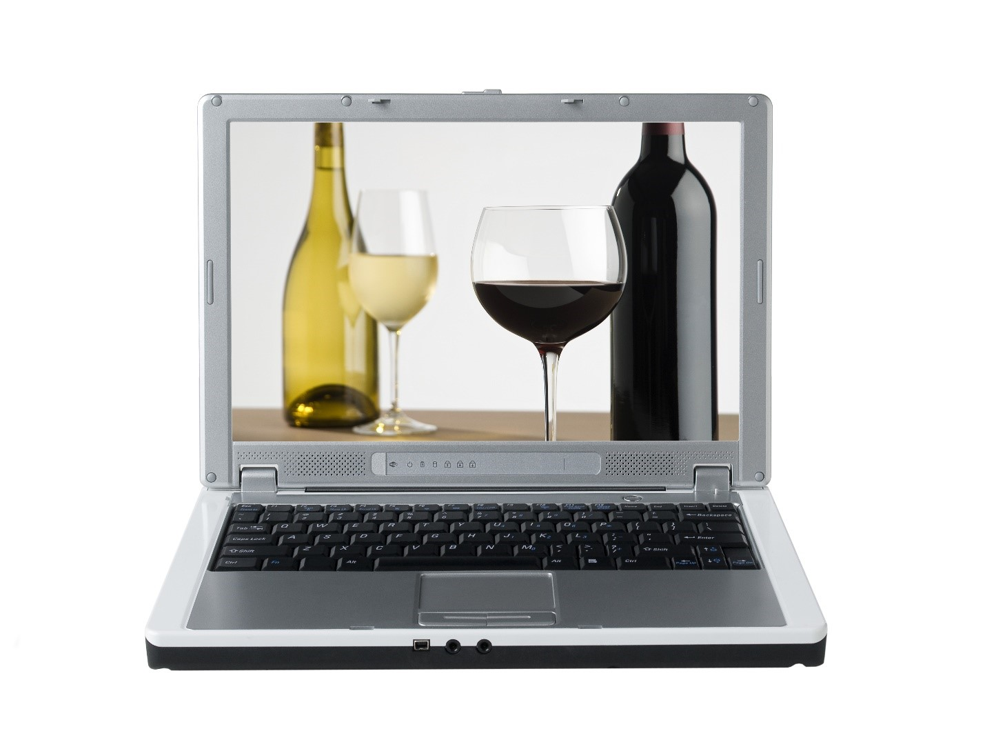 Picture of wine bottles and alcohol on a computer screen.